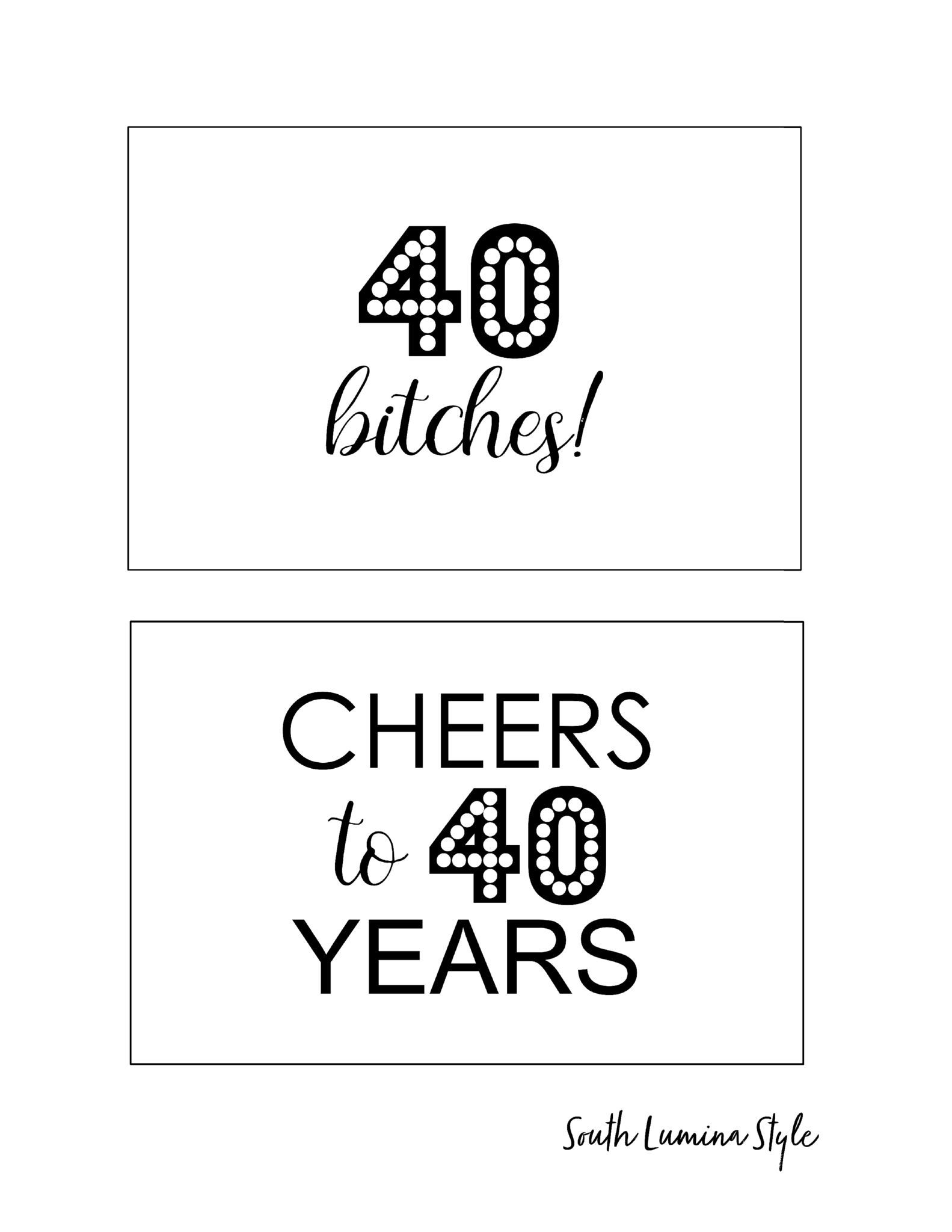 Diy Printable Adult Birthday Party Signs