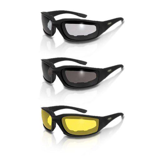 b49d81ca9d64 3 Pairs Kickback Foam Padded Motorcycle Sunglasses | Motorcycle ...