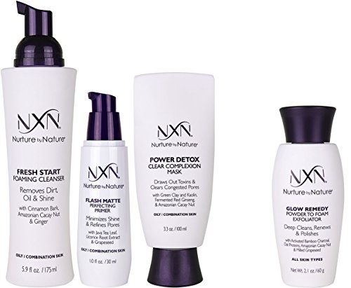Nxn Zero Shine Flawless Perfection Natural Organic Skin Care System For Oily Combination Skin W Exfoliating Face Scrub Exfoliate Face Foaming Facial Cleanser