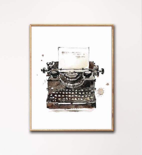 Vintage Typewriter Print, Watercolor Typewriter Painting
