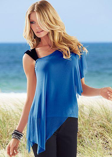 Blue ruffled shoulder top