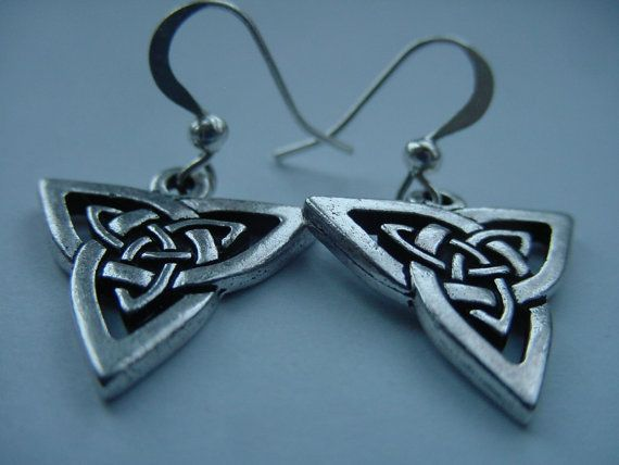 Celtic TierraCast Earrings Antique Silver , Celtic Triangle Dangles by CherylsHealingGems, $18.00