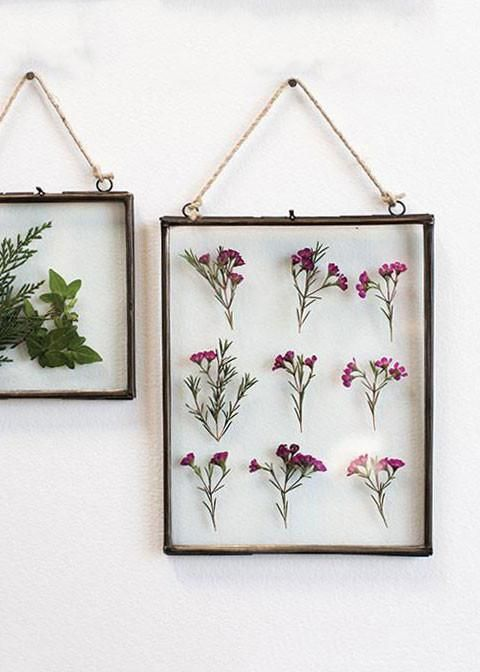 Create your own custom collage with this glass panel frame. Try dried florals and feathers or simple babies breath. Whatever your style, displaying florals on your wall couldn't be easier.  Clear 10.5