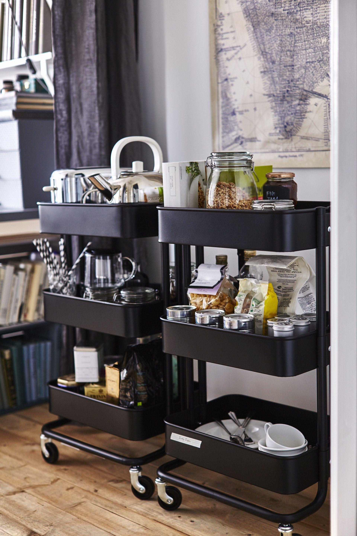 Raskog Roltafel Zwart Decor Ikea Hacks Studentenkamer Keuken