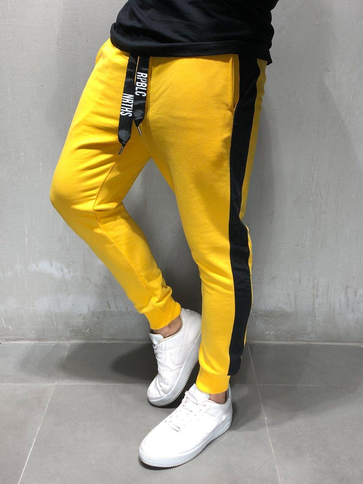 d130f9e7a13b Yellow Sweatpants Black Side Stripes Streetwear Jeans, Streetwear Fashion,  Mens Sweatpants, Joggers,