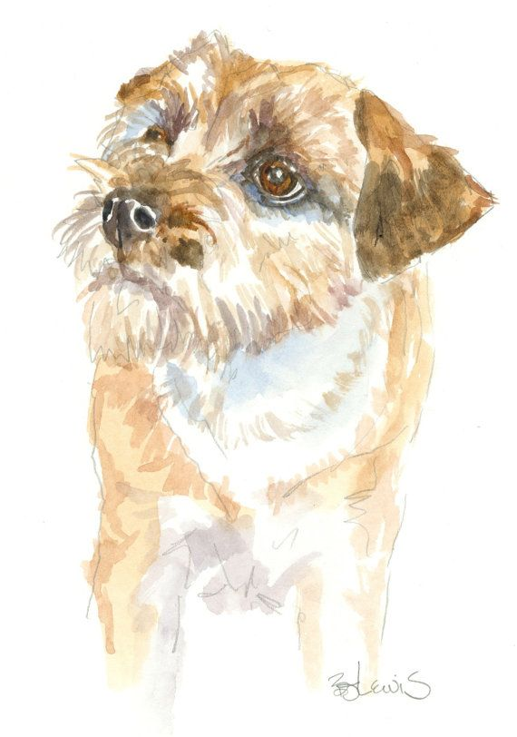 Border Terrier Original Watercolor Matted 8x10 By Writedesign