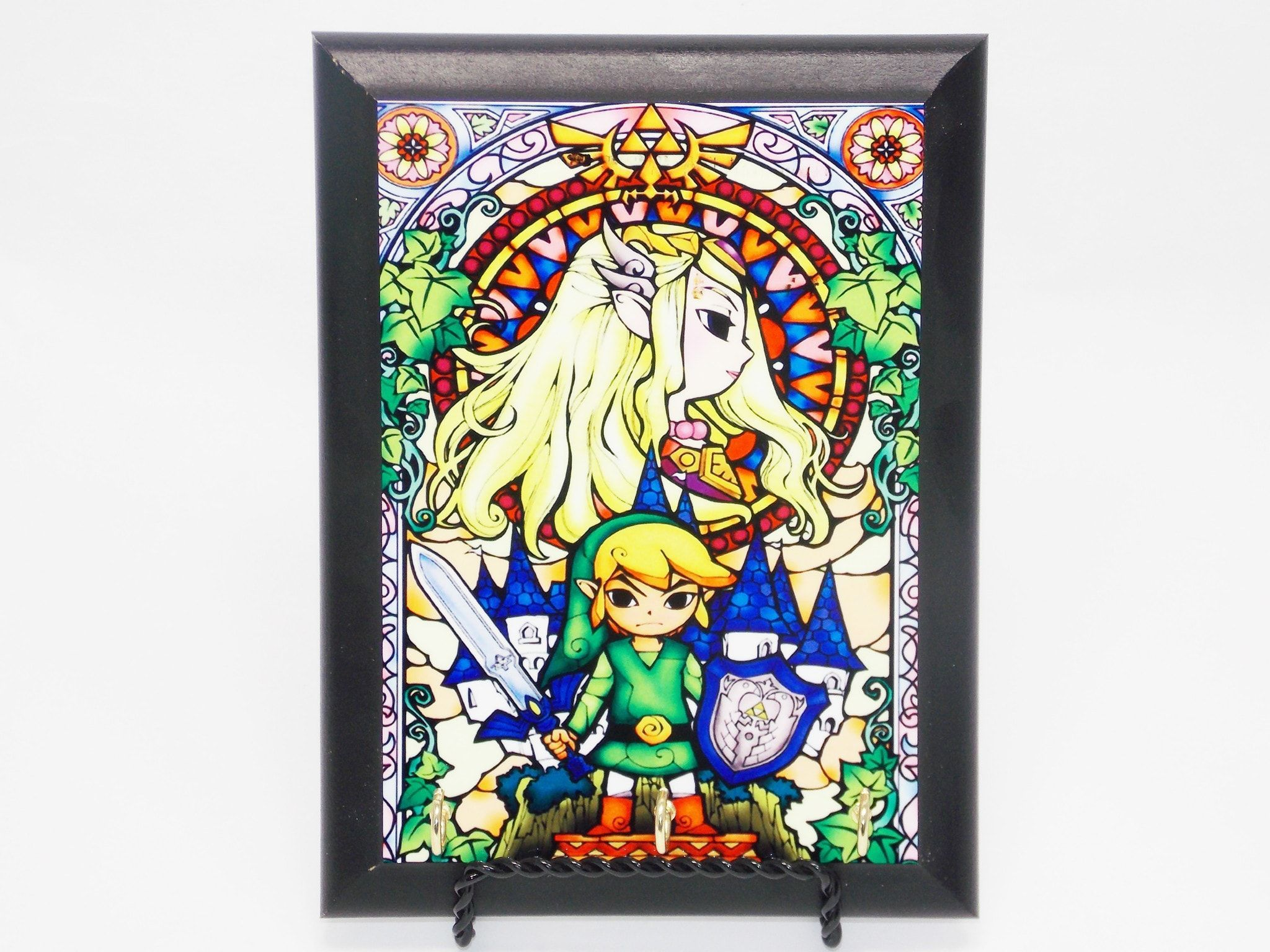 Zelda and link stained glass decorative wall plaque key hanger