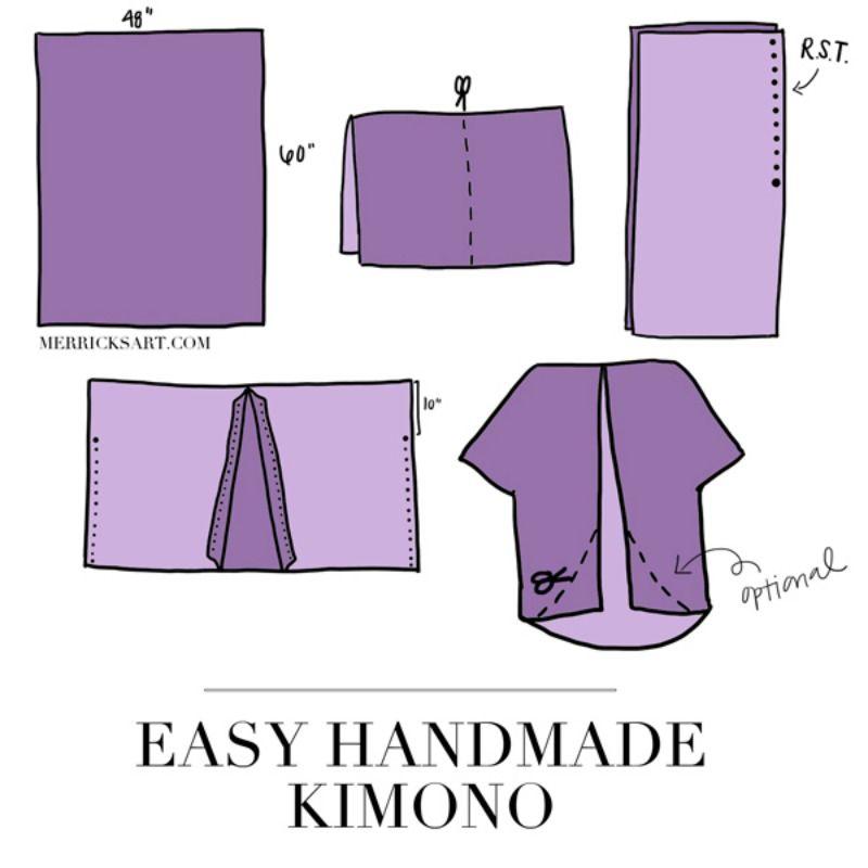 Diy This Pretty Kimono In Less Than 30 Minutes Diy Kimono Kimono Tutorial Pretty Kimonos