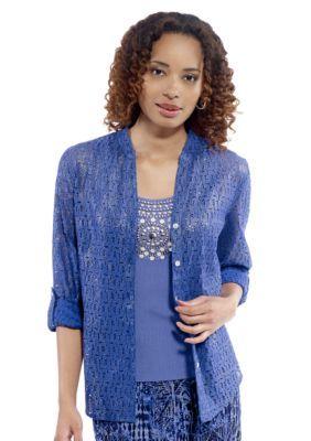 Ruby Rd Cobalt With Silver Foil Singing The Blues Foil Lace Boyfriend Shirt