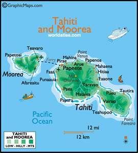 Tahiti and Moorea large color map by World Atlas | TAHITI / French ...