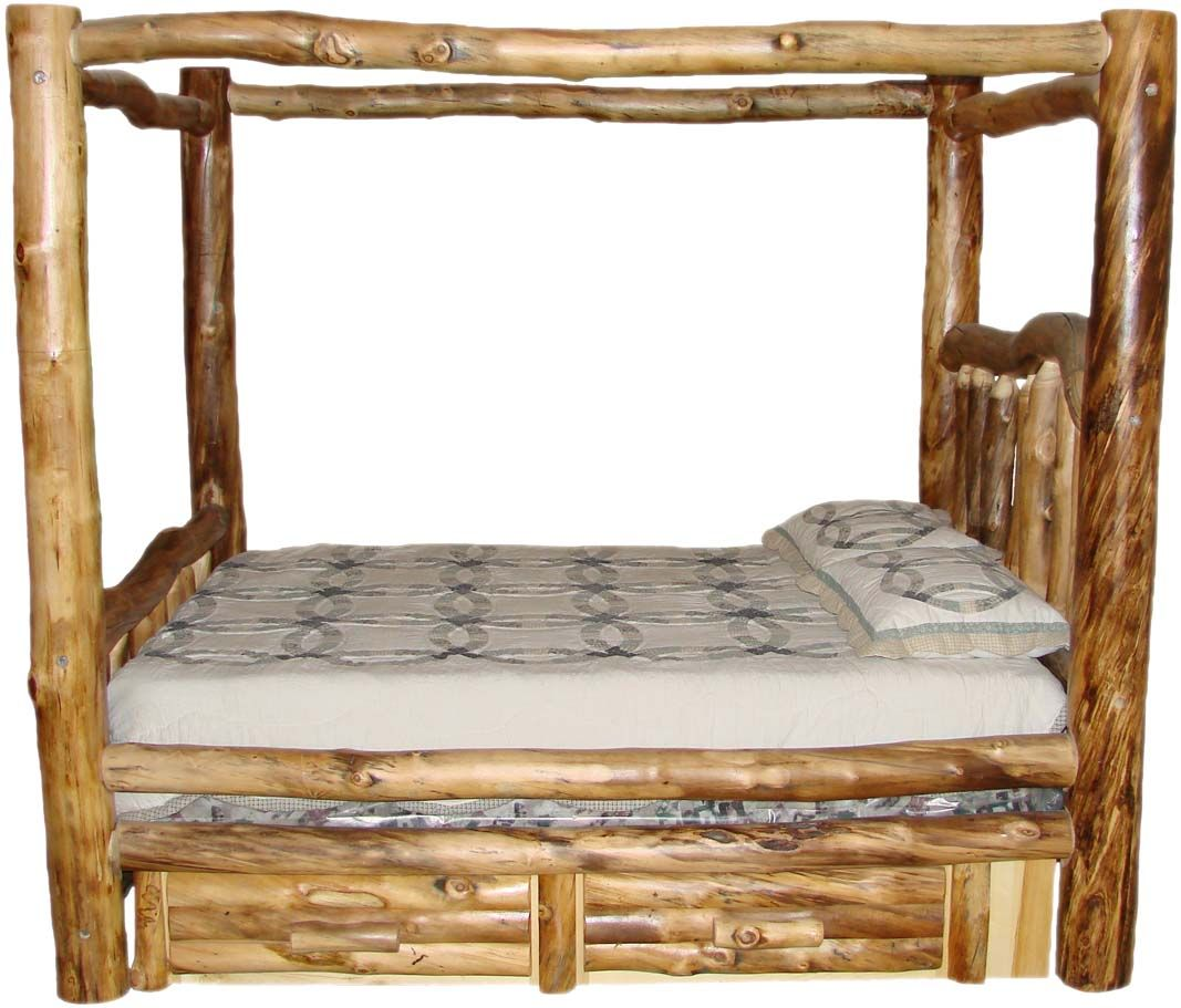 Log bed with built in draws | WESTERN/RUSTIC FURNITURE | Pinterest ...