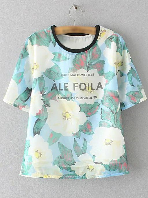 Multicolor Short Sleeve Letters Flowers Print Blouse -SheIn(abaday)