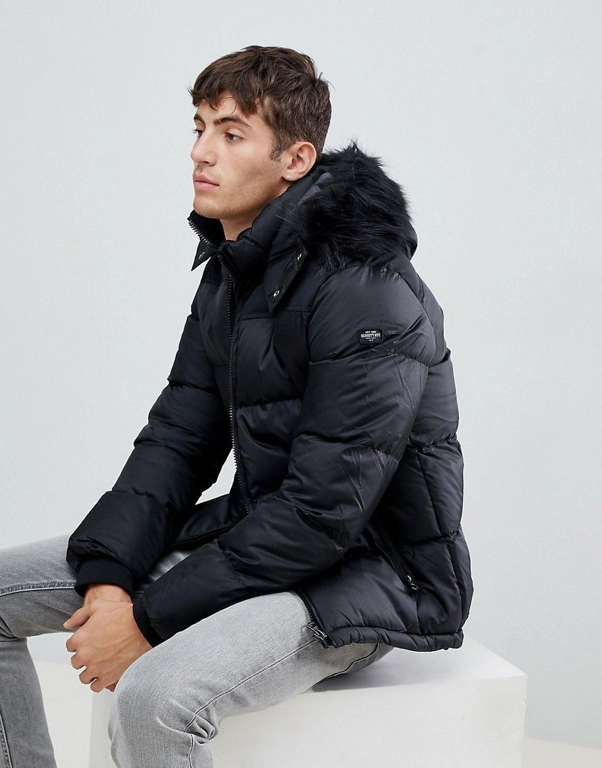 Schott Puffer Jacket With Detachable Hood Faux Fur Trim Black Black Modesens Detachable Hood Puffer Fur Trim [ 1110 x 870 Pixel ]