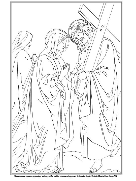 Fourth Station of the Cross Coloring Page | Catholic Kids | Pinterest