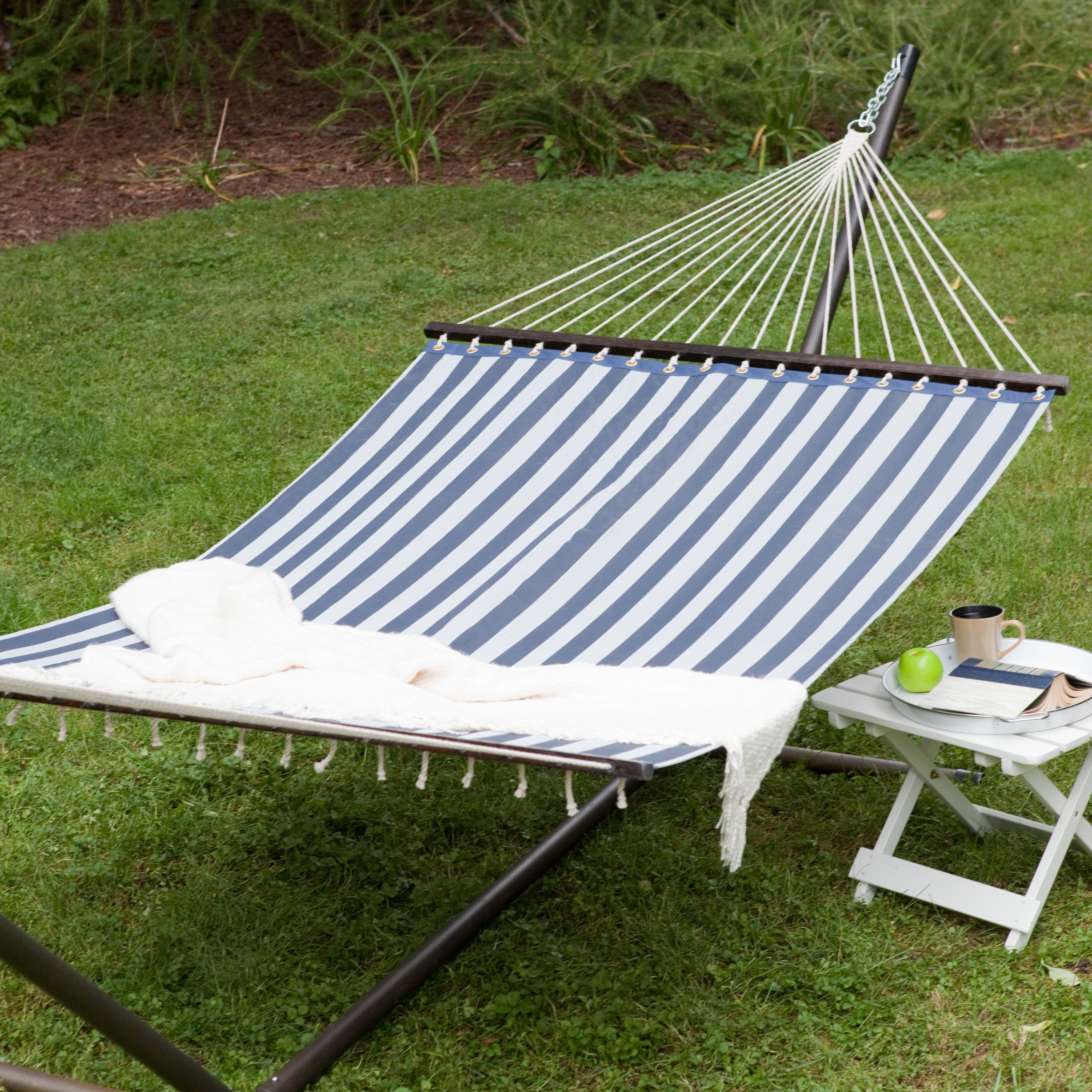 island bay 13 ft  quick dry poolside navy stripes hammock with steel stand   alz768 island bay 13 ft  quick dry poolside navy stripes hammock with      rh   pinterest