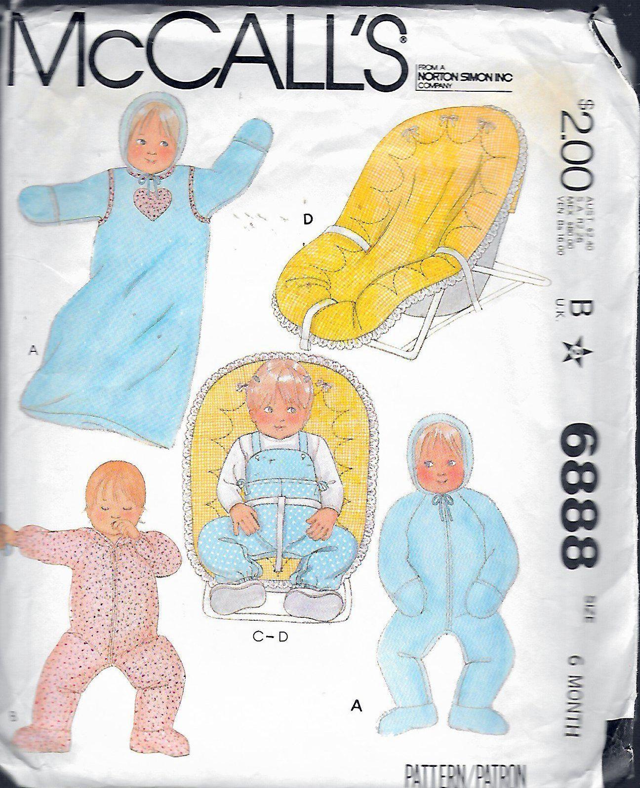 6888 SEWING PATTERN~UNCUT 1979~BABY//INFANT SZ 12#-15#~BUNTING/&JUMPSUIT+++