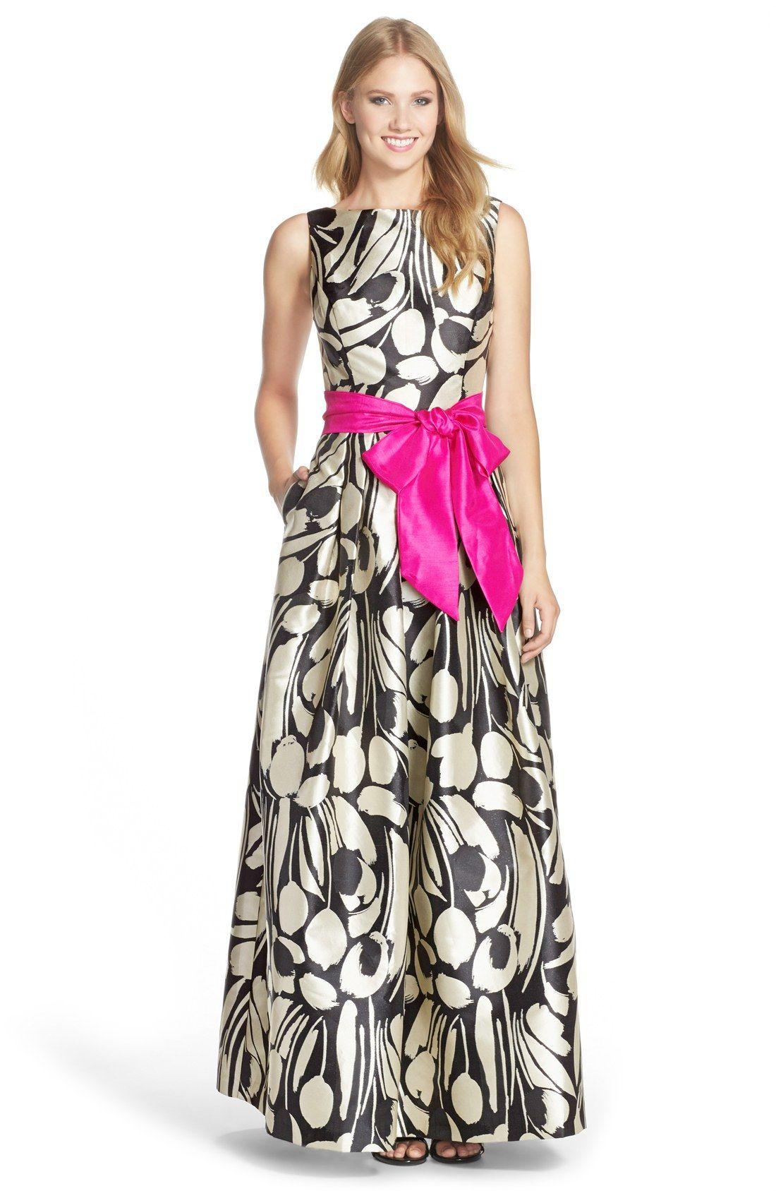Eliza J Print Jacquard Ballgown  Ballkleid, Tropisches kleid und