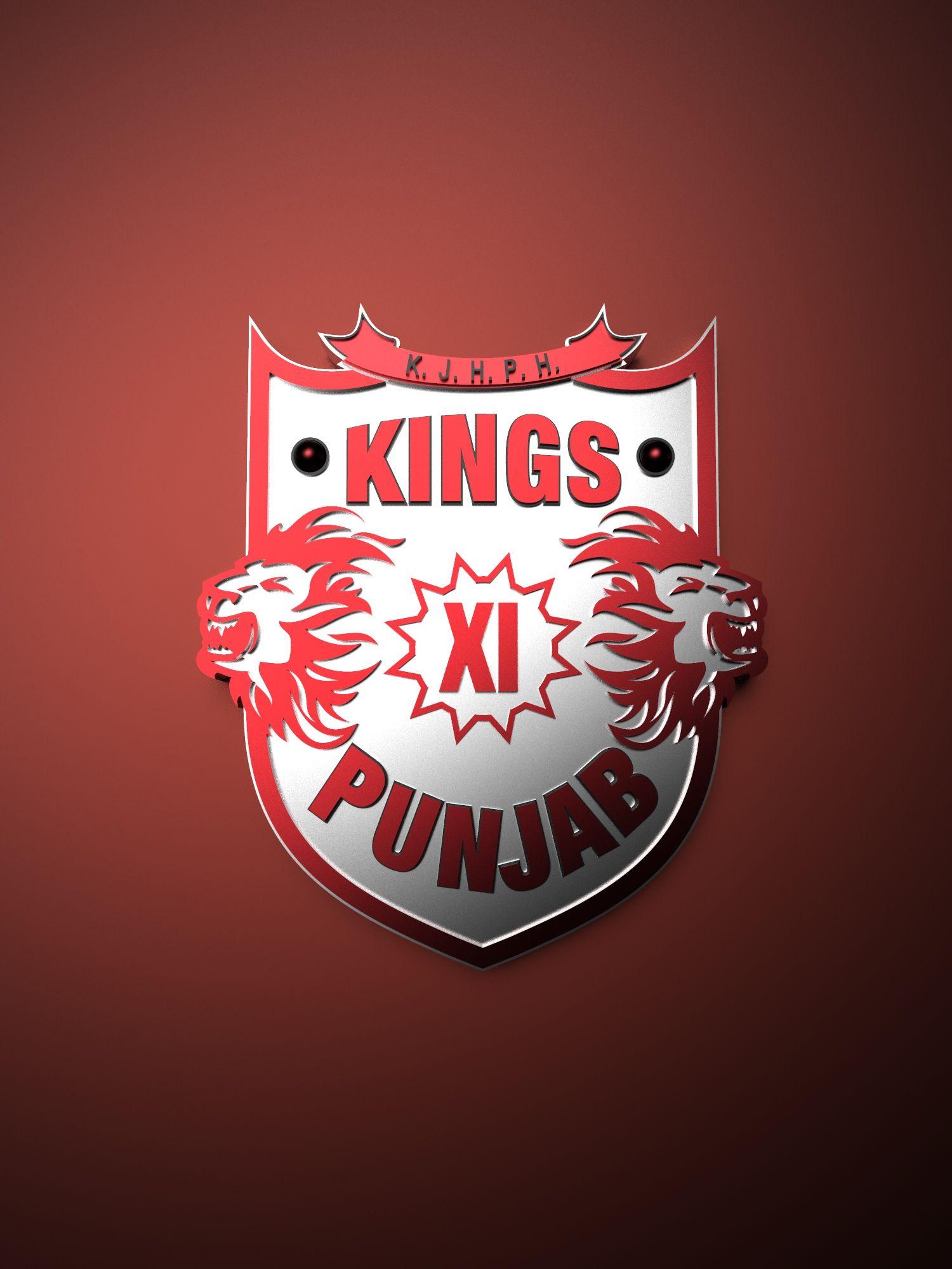 Kings Xi Punjab Ipl Metallic Logo Poster Painting Tenorarts Ipl Cricket Wallpapers Metallic Logo