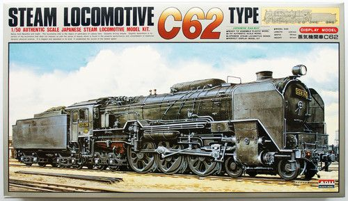 Arii 356029 Japanese Steam Locomotive Type C62 1/50 Scale Model Kit. From the movies Galaxy Express 999, Adieu Galaxy Express 999, plus a bunch of other Leiji Matsumoto stories. $72.00