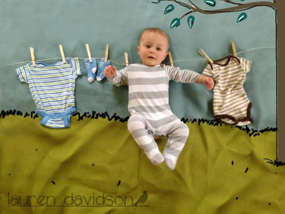 Delightful 6 Month Old Baby Photo Ideas. DIY Unique Cool Baby Photo! How To Make Baby  On A Clothesline Picture. I Took This Today With My IPhone, Believe It Or  Not.