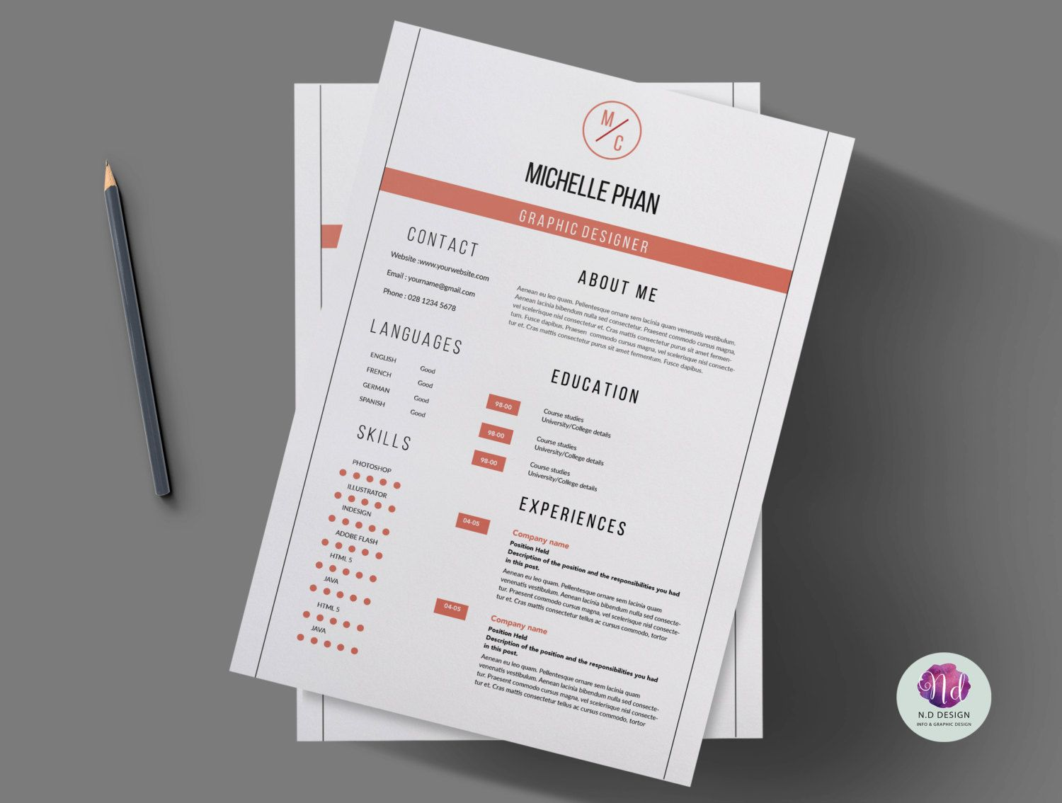 Modern 2 page CV template cover letter template reference template