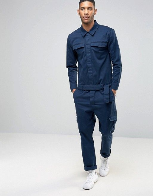 Boiler Suit With Cargo Pockets In Navy Overalls Pinterest