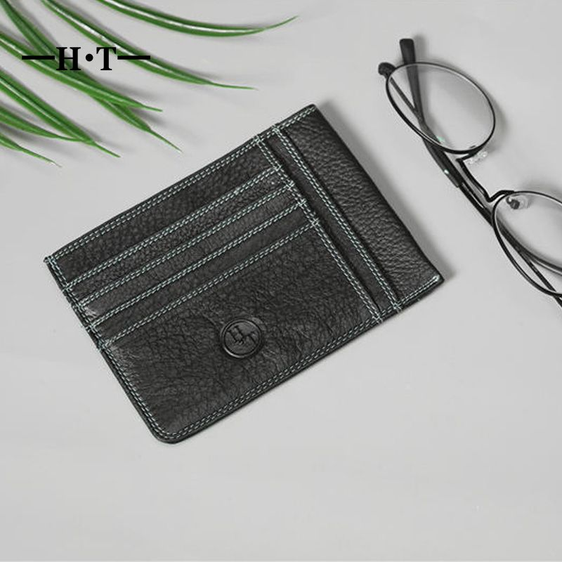 HT 100% Genuine Cowhide Leather ID Card Holders Mens Credit Card ...