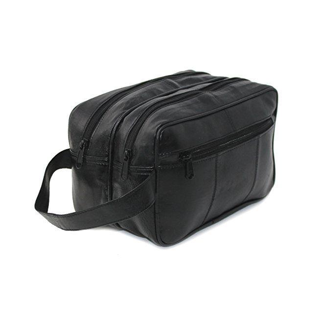 e825090e1a18 RAS Men s Black Large Genuine Leather Travel Overnight Wash Gym Bag ...