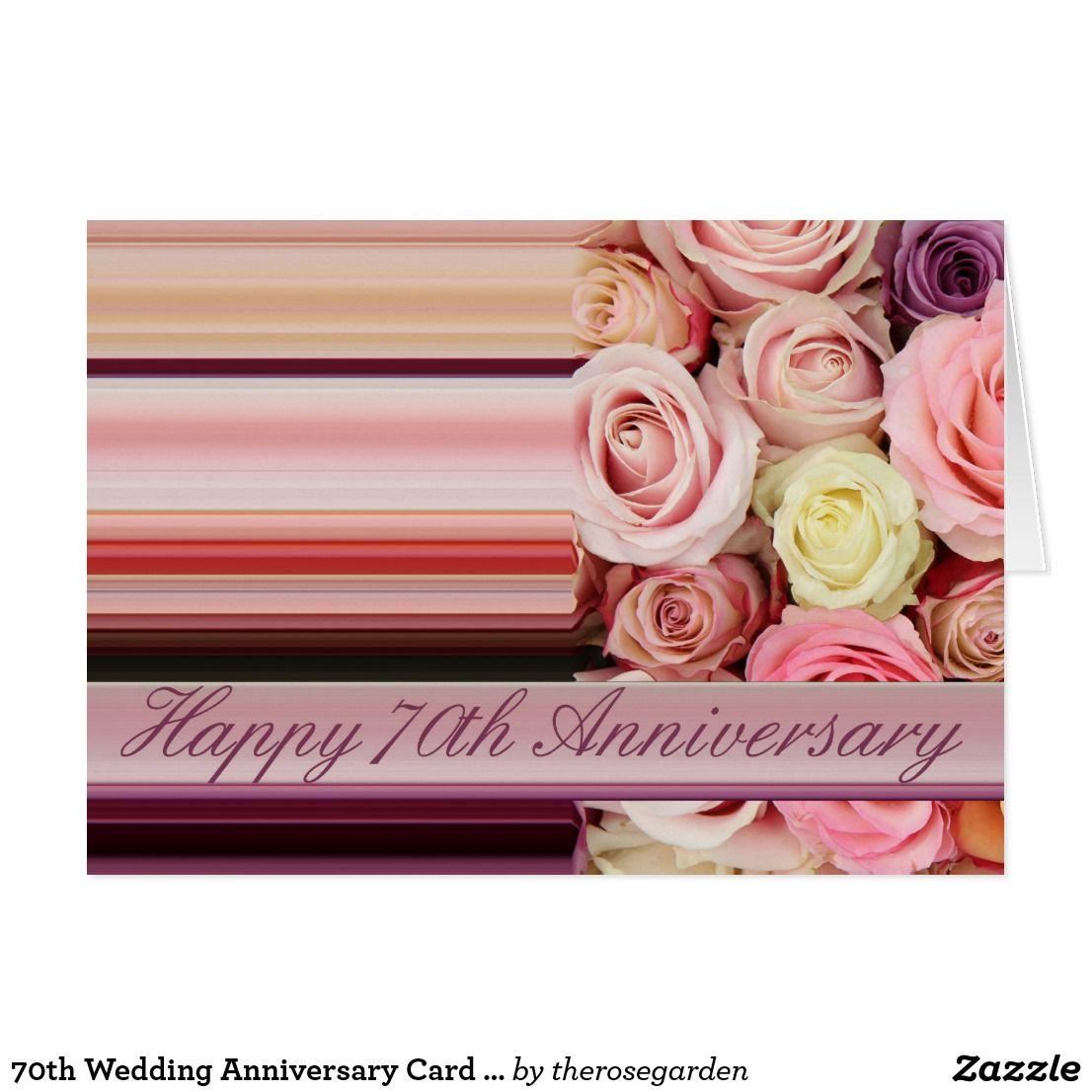70th Wedding Anniversary Card Pastel roses stripe