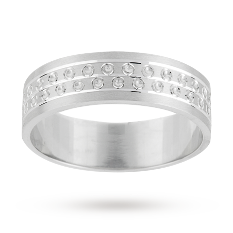 6mm heavy flat 2 row gents wedding ring set in 9 carat