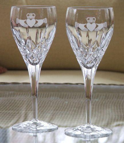 Wedding Invitations Galway: Galway Irish Crystal Claddagh Wedding Wine Glasses 8 5