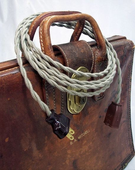 Cloth Extension Cord Vintage Style Covered Exy Antique Steampunk Electrical 10 Foot