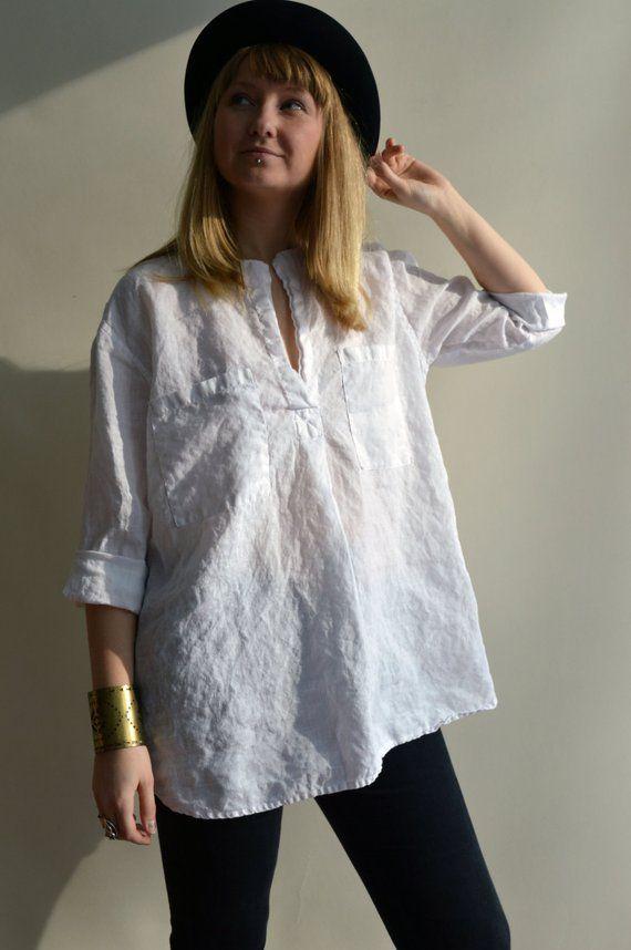 779d80b37b Beach Shirt, Loose Linen Shirt, Long Sleeves, White Linen Tunic, Boyfriend  Shirt, White Shirt, Plus