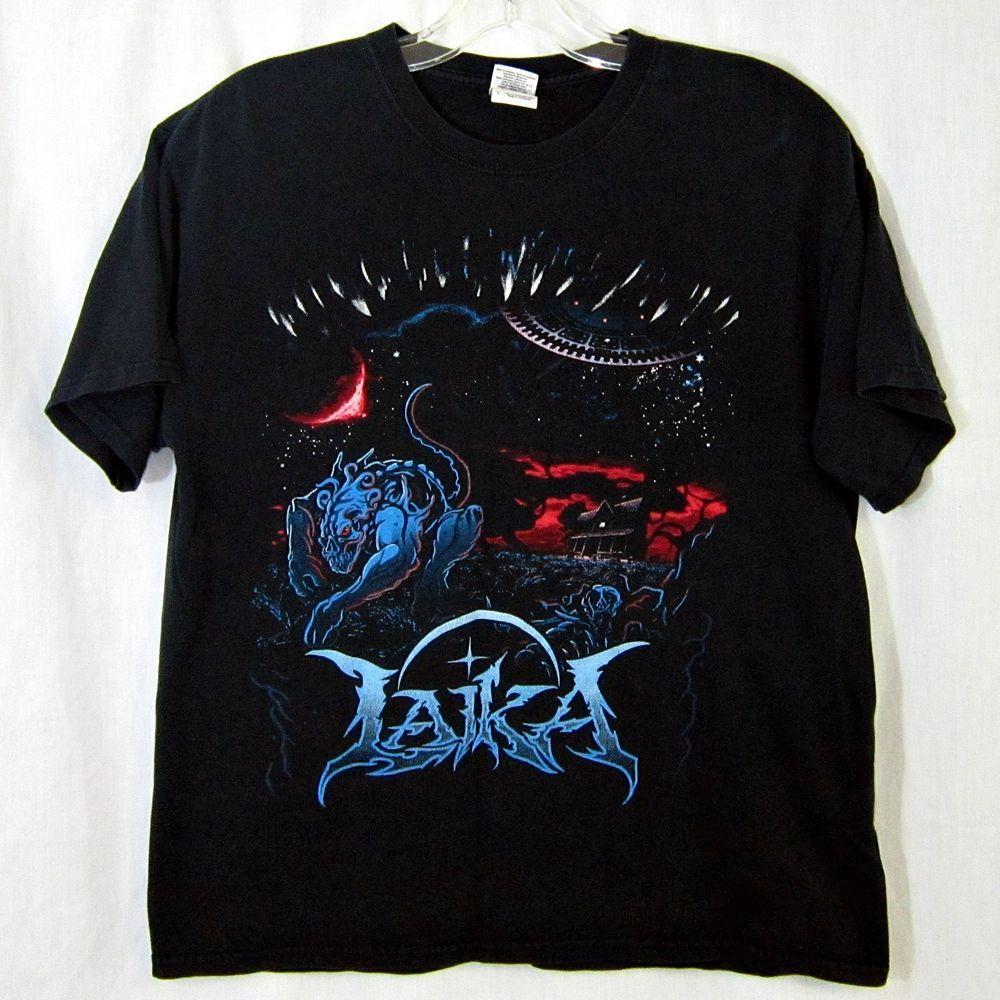 Laika Death Metal Band T-Shirt Alien Creature Space Ship Distressed Size Large #Gildan #GraphicTee