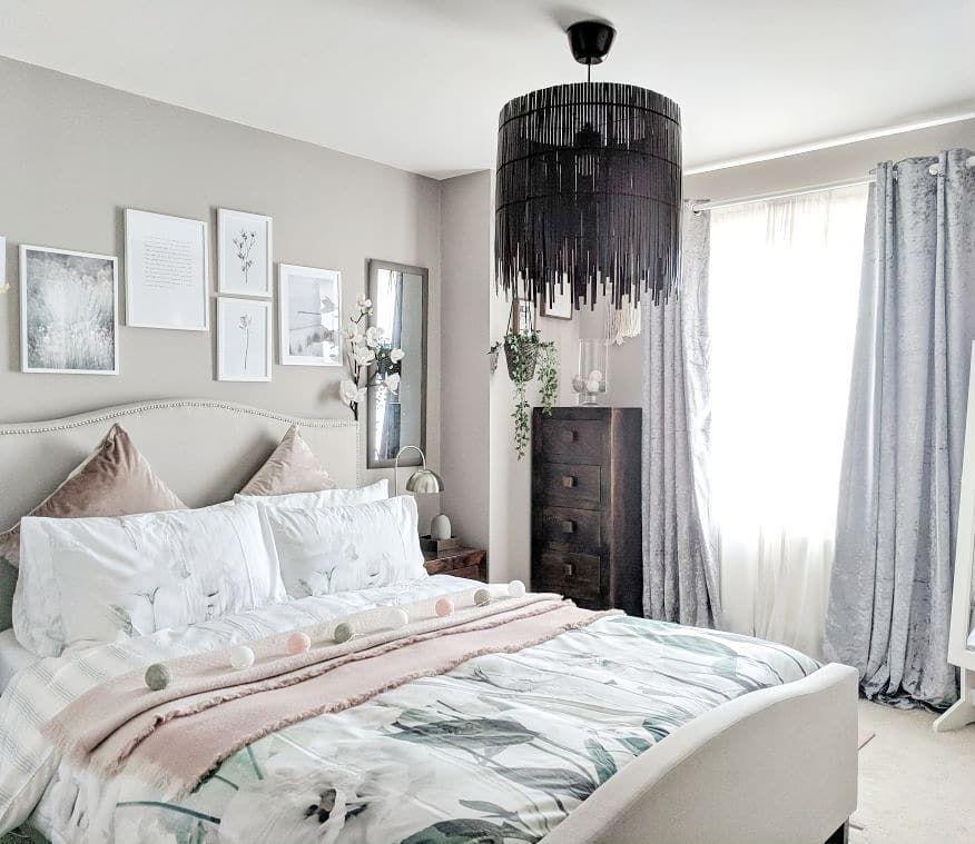 Best Boho Blush Pink And Grey Bedroom Inspiration Dark Wood 640 x 480