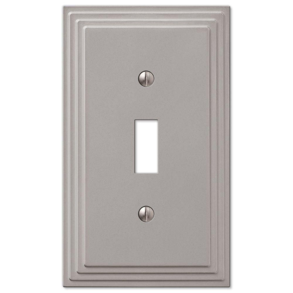 Hampton Bay Tiered Cast 1 Gang Toggle Wall Plate Satin Nickel 84tnhb Plates On Wall Switch Plate Covers Steps Design