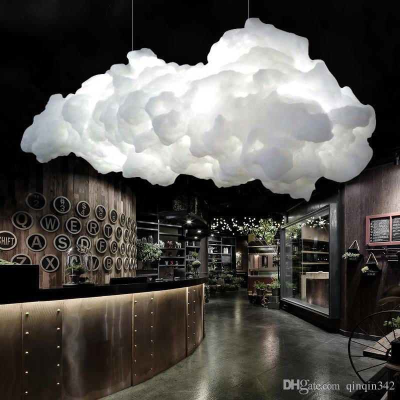 Modern Floating Cloud Led Chandelier Lighting White Cotton