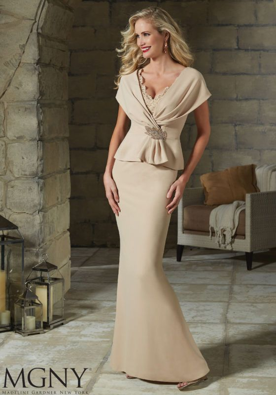b2b2b2d71960 Crepe with Beaded Lace and Applique Designed by Madeline Gardner