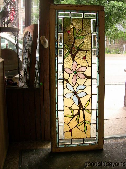 Antique 1890 S Victorian Stained Beveled Glass Window