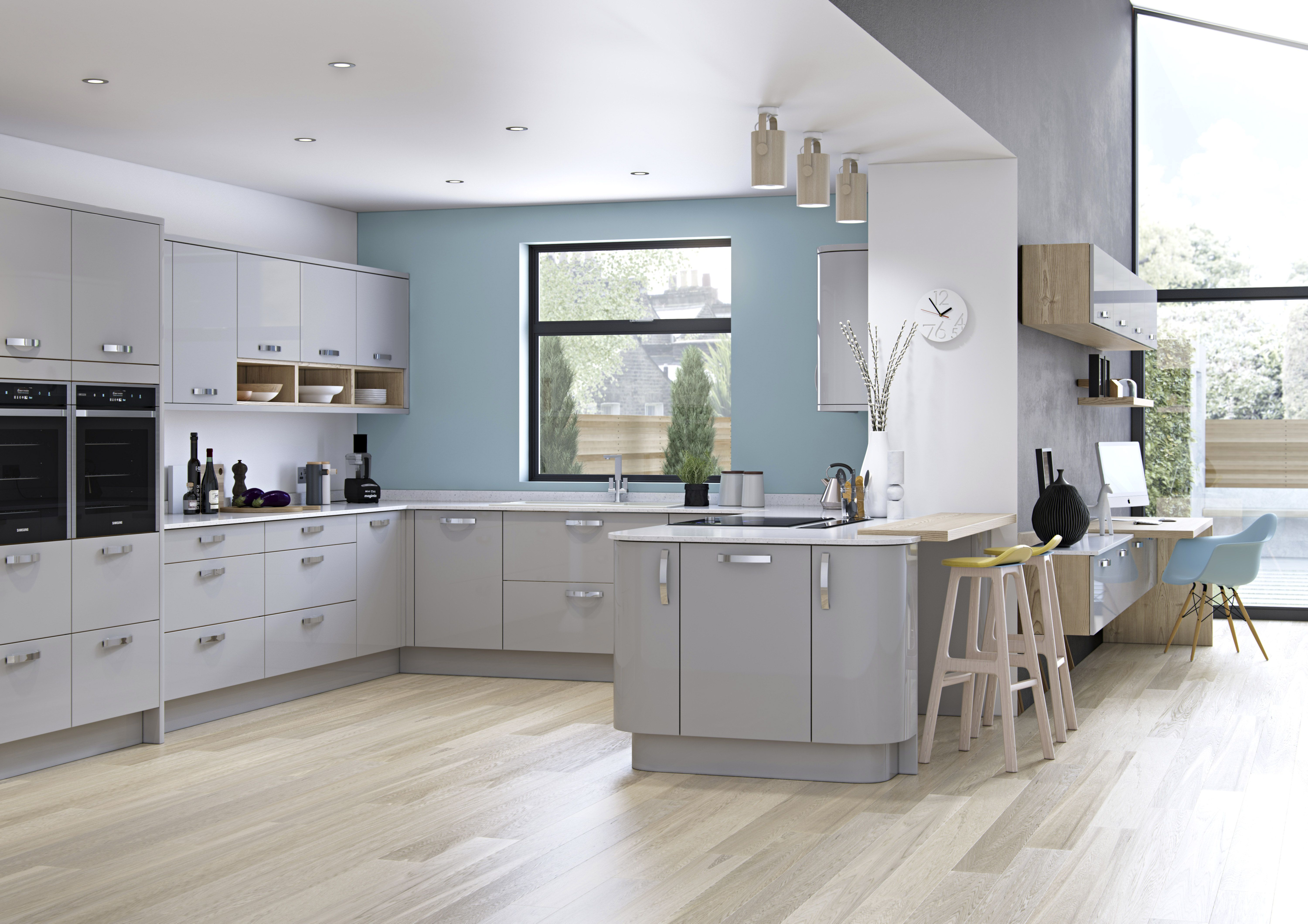 Modern Zola Gloss Kitchen In Light Grey Featuring Curved Doors,
