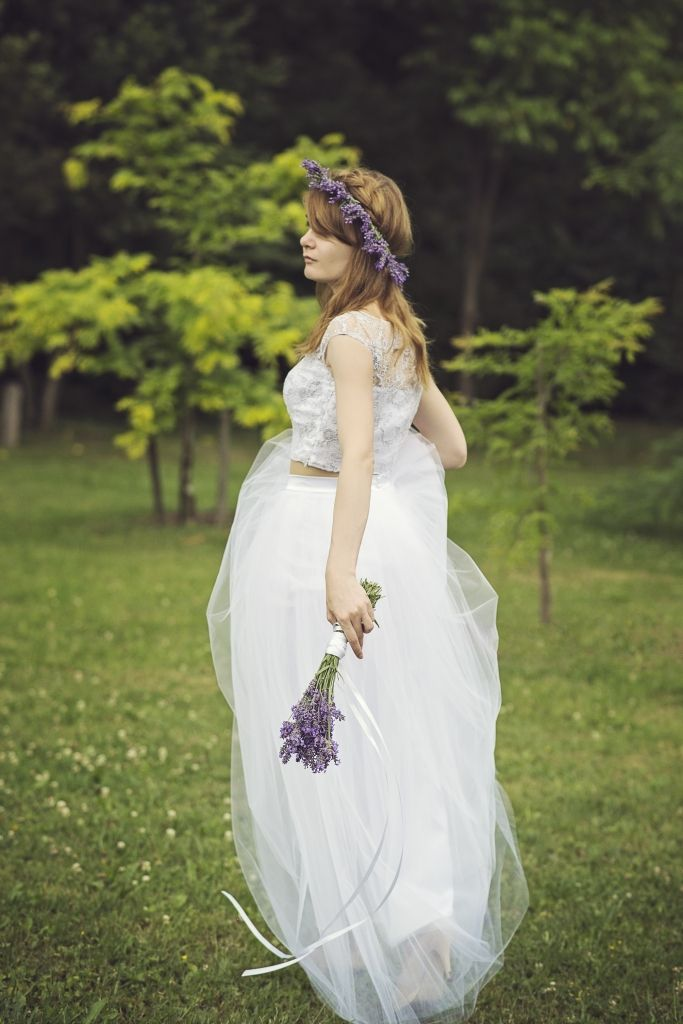 Bridal top and skirt. Wardrobe by Dulcinea