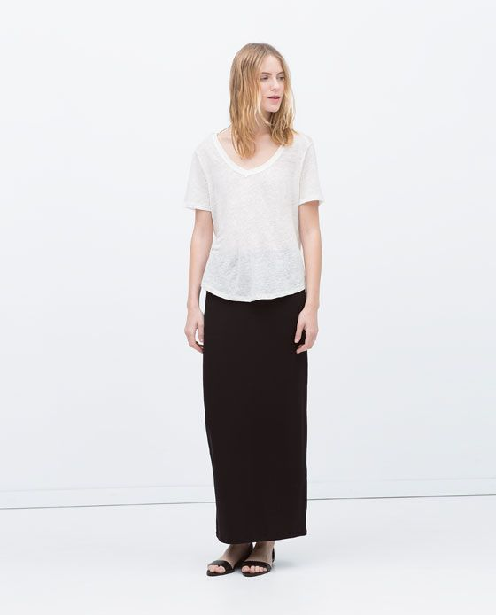 984472a80b Image 1 of LONG STRAIGHT SKIRT from Zara | Clothing | Long straight ...