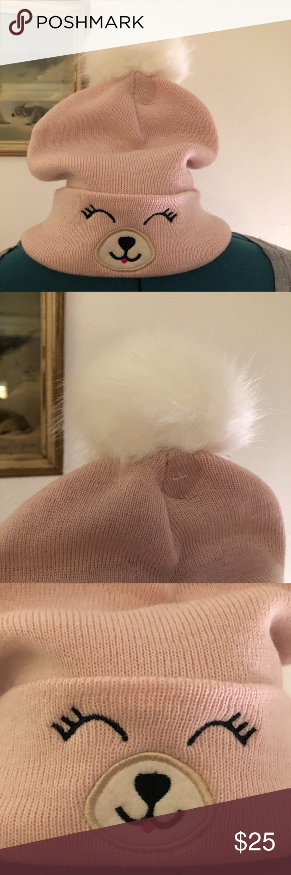 d837d4b4ee25e NEW~ Pink Llama Face POM POM Hat NWT Youre viewing a cute pink Llama face  knit pom pom beanie hat! New with tags. One size fits most. 100% Acrylic.