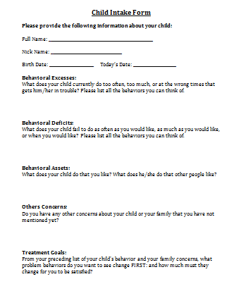 child intake form for psychotherapy | counseling | pinterest, Presentation templates