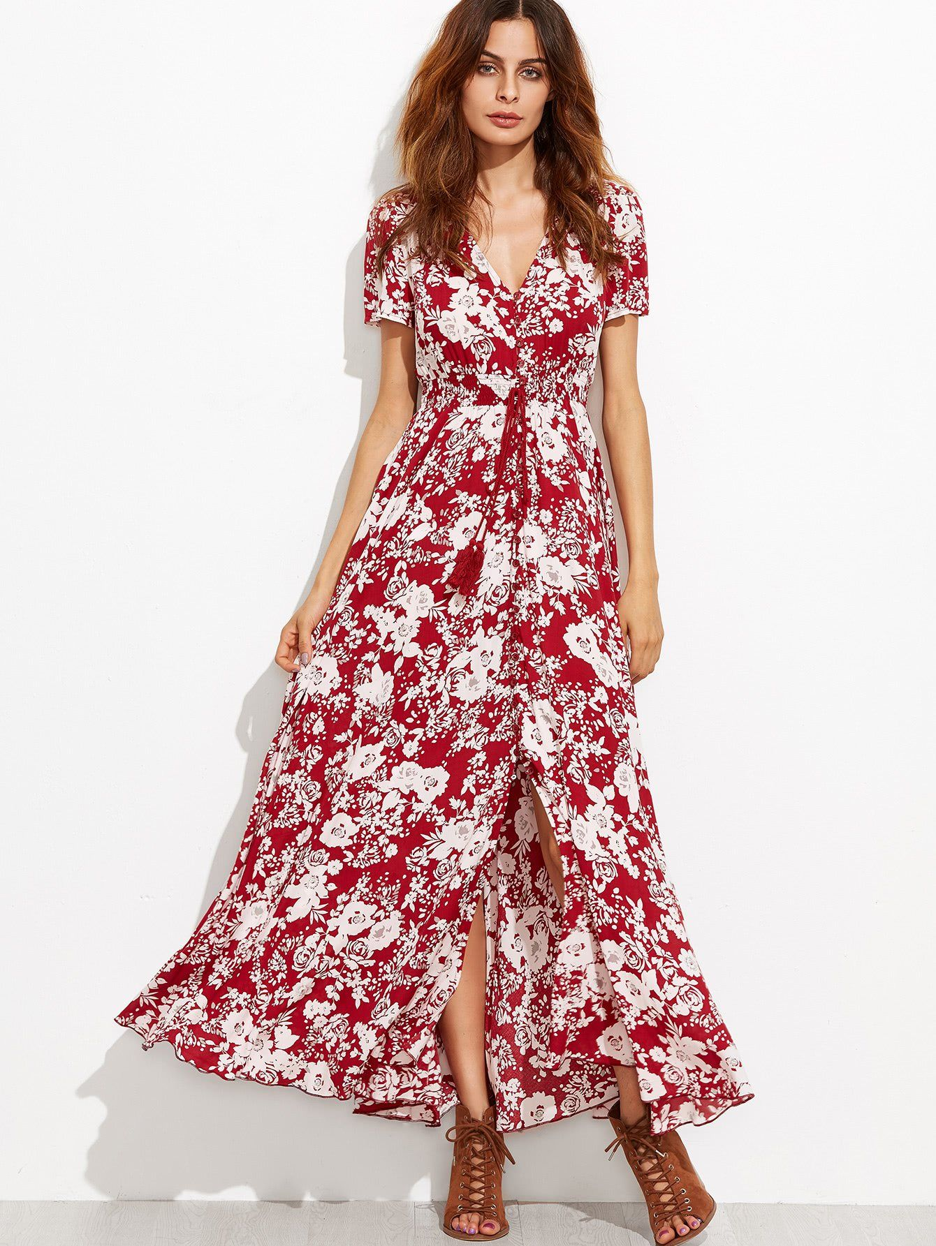V-neckline Calico Print Tassel Tie Dress