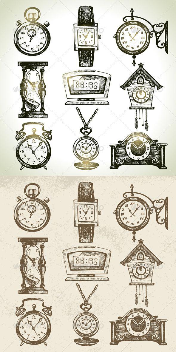 wrist watch, street clock, hourglass, digital clock,cuckoo