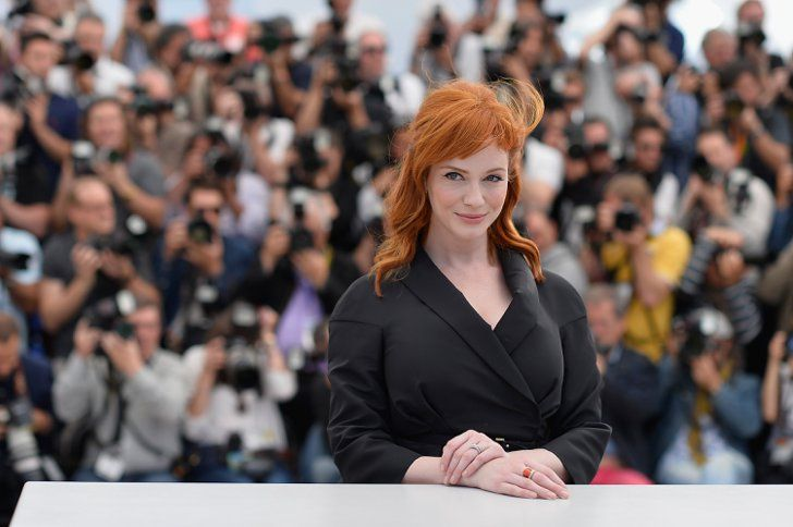 Pin For Later The Most Stunning Snaps From Cannes Christina Hendricks Popped In A Sea Of Photographers