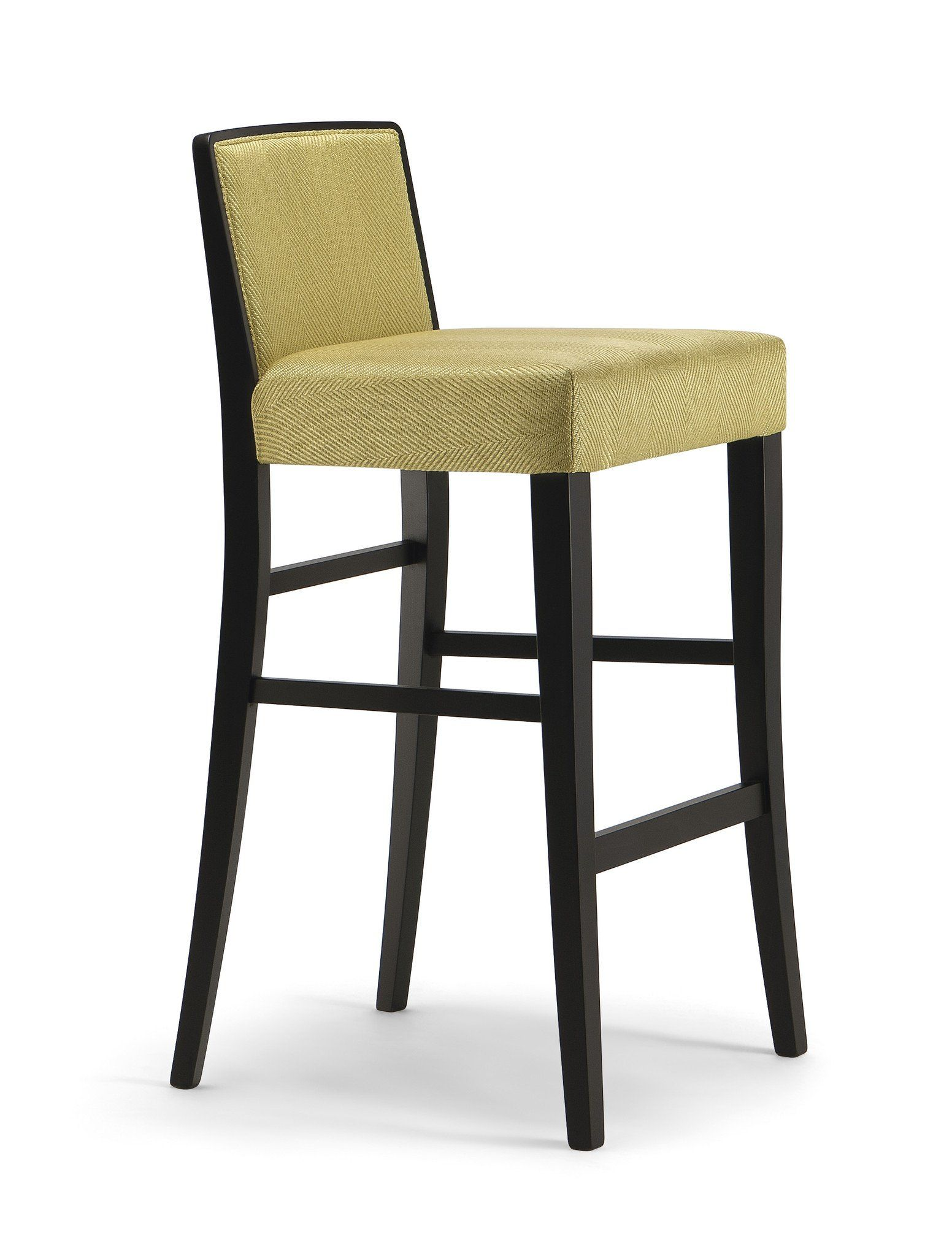 Cannes High Stool Leather Fabric Footrest And Wood Stain # Muebles Tubulares Beta