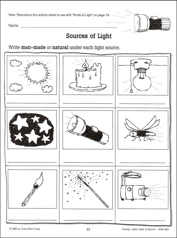 Printable Light Worksheets : Scienceworks energy light heat sound additional
