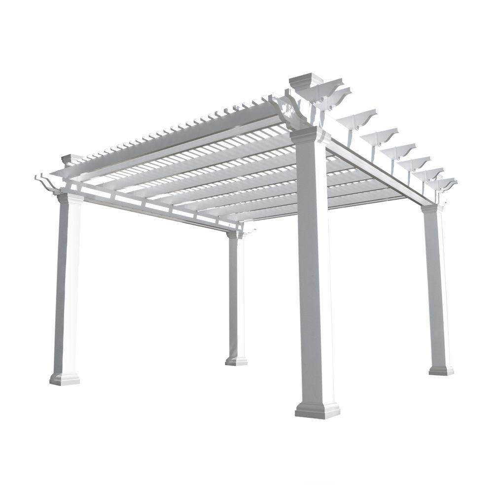 Weatherables Augustine 12 Ft X 12 Ft White Double Beam Vinyl Pergola Ywpg Hdb8sq 12x12 The Home Depot Vinyl Pergola Pergola Pergola Shade